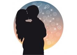 亲吻的情侣恋人剪影