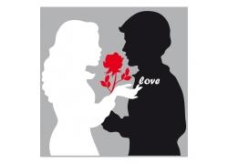 拿着玫瑰的情侣剪影
