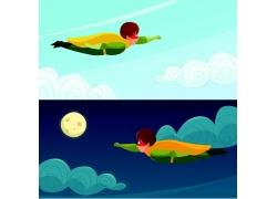 飞翔的卡通超人图片