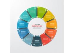 立体彩色圆环信息图表