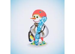 拿着冲浪板的雪人