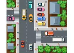 岔路上的汽车和房屋