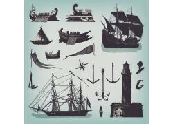 卡通灯塔轮船插画图片