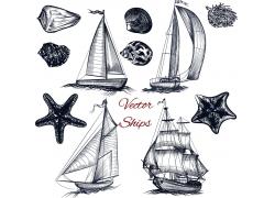 帆船海洋动物插画图片