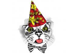 戴生日帽子的猫咪插画