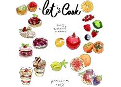 水彩水果冰激凌菜单