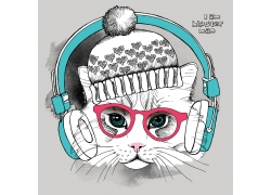 戴帽子耳机的小猫