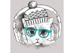 戴眼镜帽子的猫咪插画