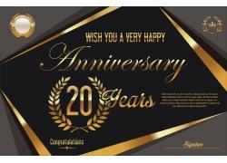 复古金色20周年庆背景