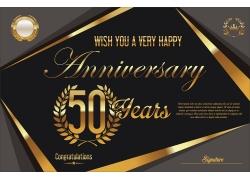 复古金色50周年庆背景