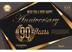 复古金色90周年庆背景