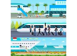 卡通旅游交通工具图片