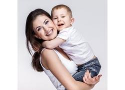 开心的女人与孩子图片