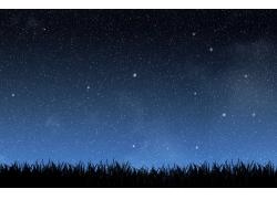 草原星空景色