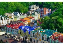 基辅彩色房子风景