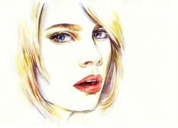 黄色头发卡通美女