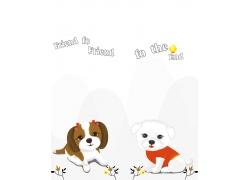 卡通小狗移门图案图片