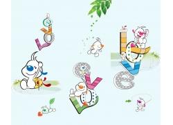 卡通动物字母图案图片