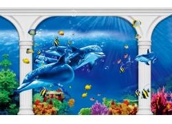 白色罗马柱鲨鱼背景墙