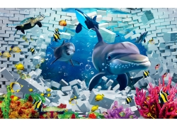 砖墙鲨鱼背景墙