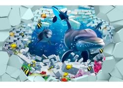 立体方块鲨鱼背景墙