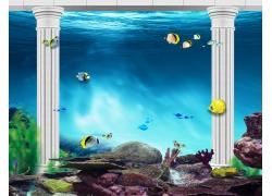罗马柱海底背景墙