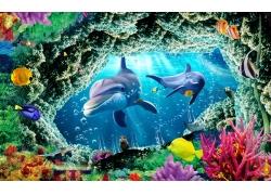 礁石鲨鱼珊瑚背景墙