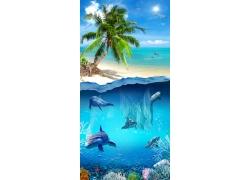沙滩海洋背景墙