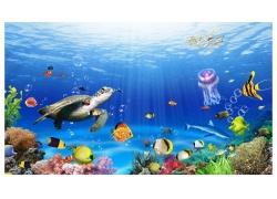云母海龟海底背景墙