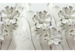 玉雕白色花朵背景墙