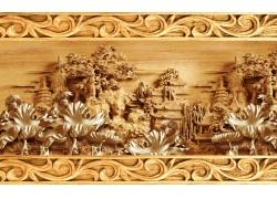 木雕荷叶背景墙