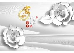 立体白色花朵背景墙