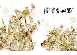 玉雕植物花朵背景墙