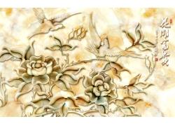 玉雕植物花朵小鸟背景墙