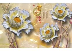 玉雕花朵背景