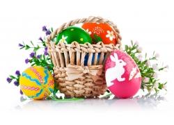 复活节彩蛋和鲜花图片