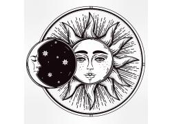 太阳图案T恤印花设计