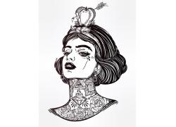 美女印花图案