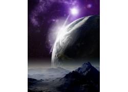 高山地球紫色星空