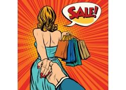 购物美女背影图片