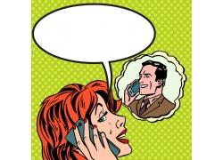 打电话的人物漫画图片