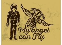 矢量摩托车与人物设计图片