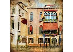 古老的欧式小楼美术作品