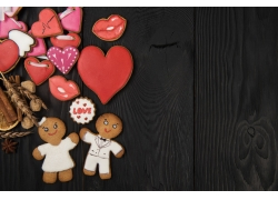 情人节心形和饼干图片