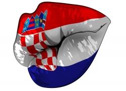 克罗地亚国旗嘴唇
