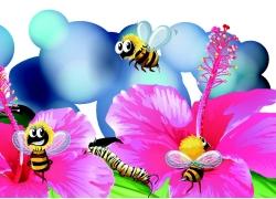 卡通鲜花蜜蜂漫画