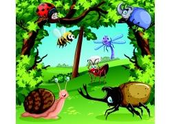 卡通树木昆虫
