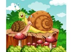 树桩上的蜗牛