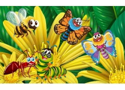 卡通鲜花昆虫漫画