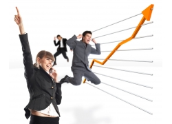 欢呼跳跃的商务人物图片